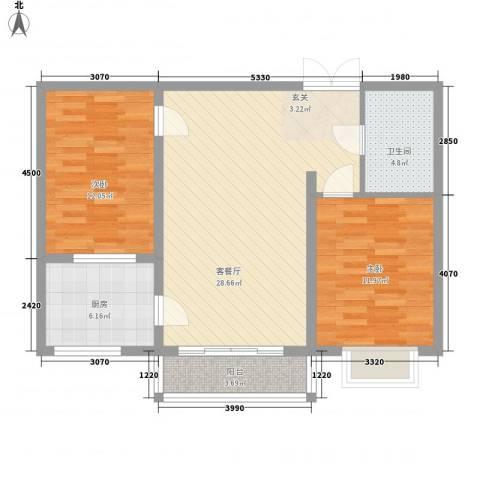 青云景苑2室1厅1卫1厨67.32㎡户型图