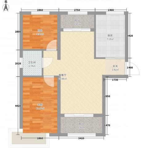 新希望乐城2室1厅1卫1厨83.00㎡户型图