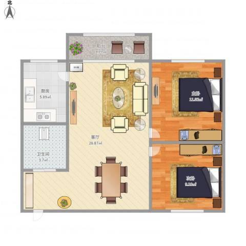 张家花园2室1厅1卫1厨80.00㎡户型图