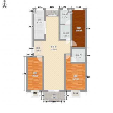 南国风光3室2厅2卫1厨128.00㎡户型图