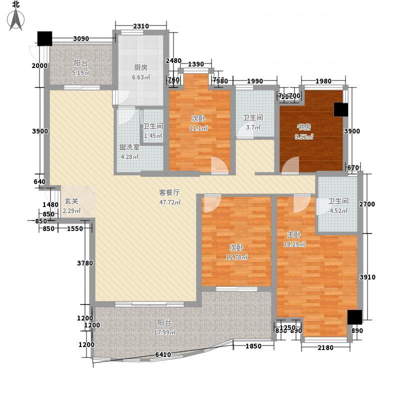 世纪华庭纽约座C户型4室2厅3卫1厨