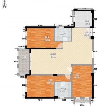 厦禾商厦3室1厅2卫1厨170.00㎡户型图