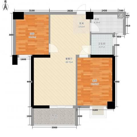 星河城市广场2室1厅1卫1厨92.00㎡户型图
