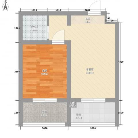 佳兴幸福家1室1厅1卫1厨46.00㎡户型图