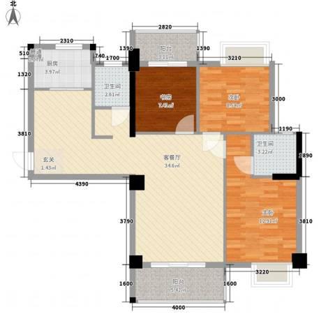 星河城市广场3室1厅2卫1厨116.00㎡户型图