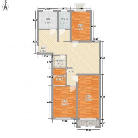 四方家和花园3室1厅1卫1厨124.00㎡户型图