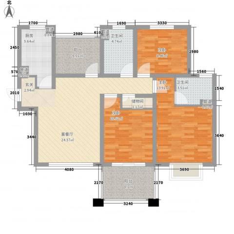 中星・外滩印象花园3室1厅2卫1厨123.00㎡户型图