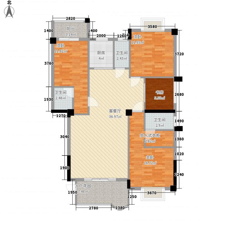 龙腾熙园148.00㎡二D户型4室2厅3卫1厨