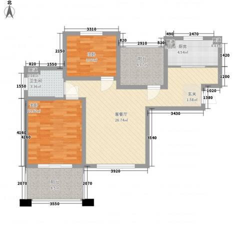 中星・外滩印象花园2室1厅1卫1厨98.00㎡户型图