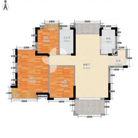 国贸天琴湾3室1厅1卫1厨120.00㎡户型图