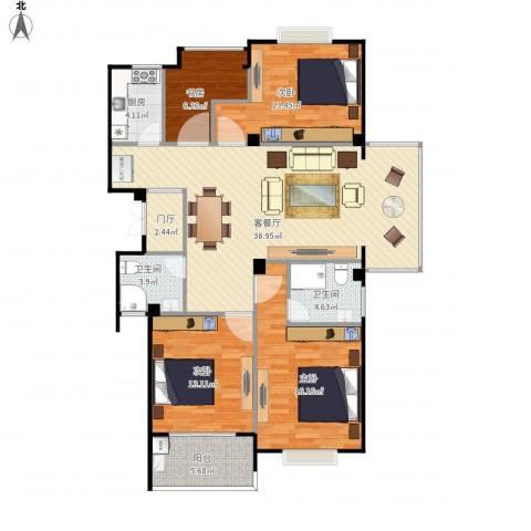 东城国际4室1厅2卫1厨144.00㎡户型图