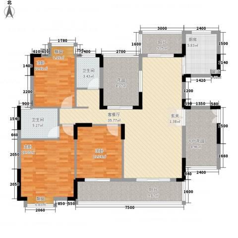 翠馨华庭3室1厅2卫1厨119.10㎡户型图