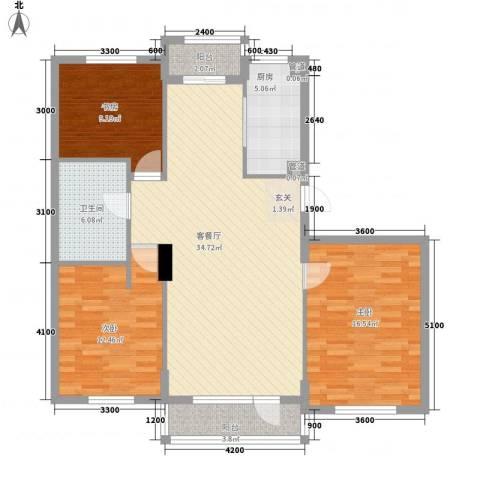 报业和谐家园3室1厅1卫1厨127.00㎡户型图