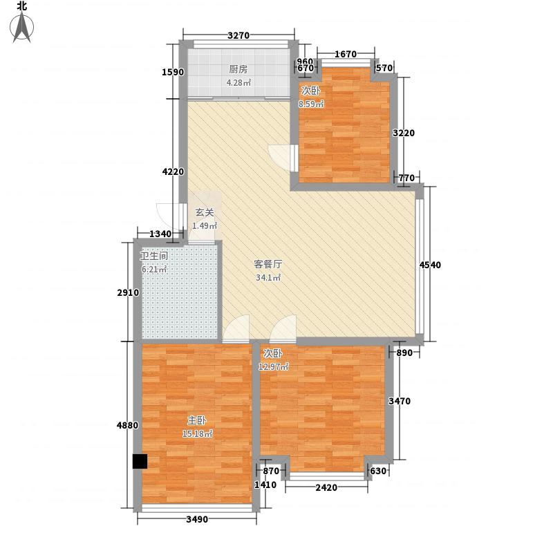 东华苑113.78㎡48#标准户型3室2厅1卫1厨