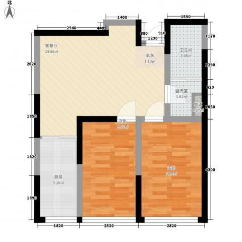 世昌明珠2室2厅1卫1厨72.00㎡户型图