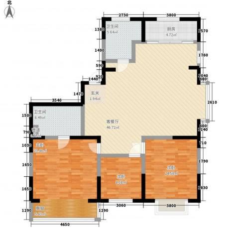 世昌明珠3室1厅2卫1厨156.00㎡户型图