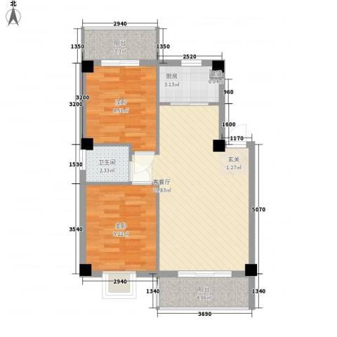 金祥花园2室1厅1卫1厨75.00㎡户型图