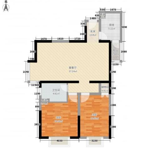 华渝西苑2室1厅1卫1厨77.27㎡户型图