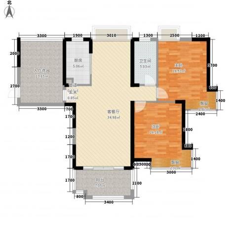 国贸天琴湾2室1厅1卫1厨139.00㎡户型图