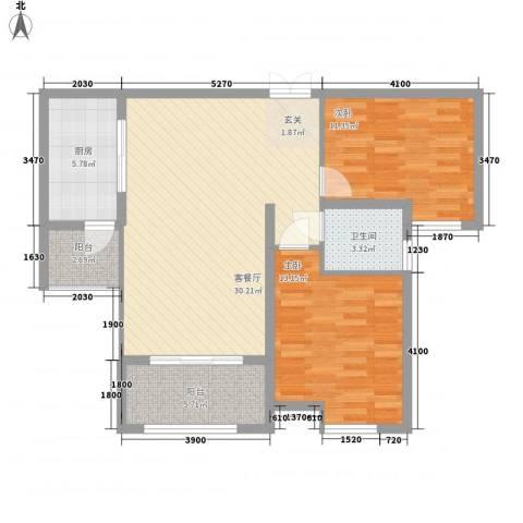 中海紫御公馆住宅2室1厅1卫1厨72.22㎡户型图