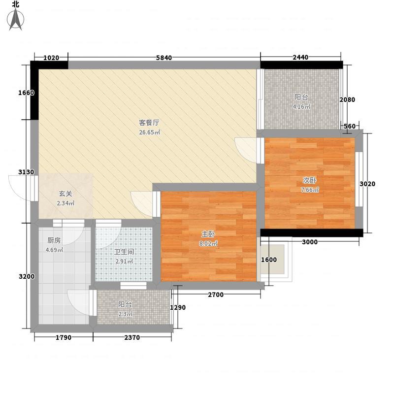 槟东公寓15户型2室2厅1卫1厨