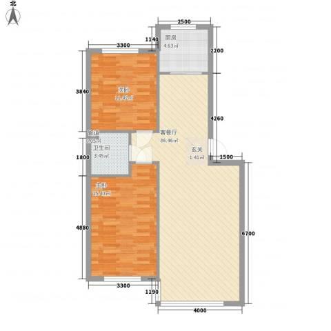 恩德花园2室1厅1卫1厨93.00㎡户型图
