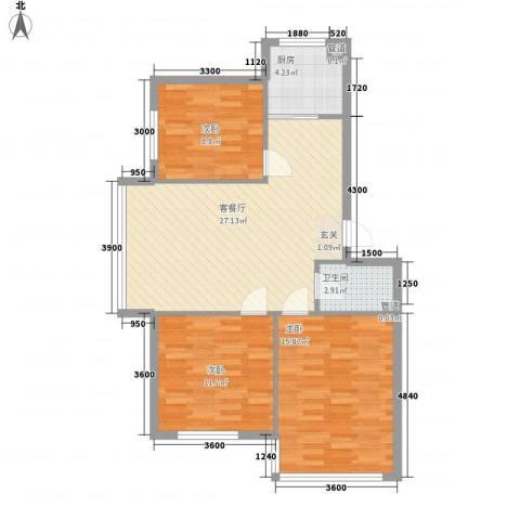 恩德花园3室1厅1卫1厨95.00㎡户型图