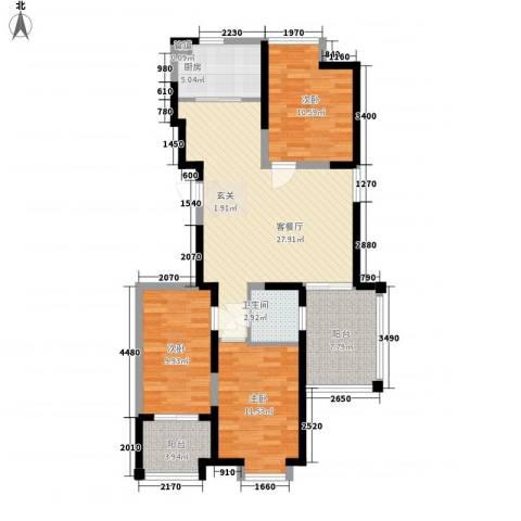 阿尔卡迪亚文承苑3室1厅1卫1厨115.00㎡户型图