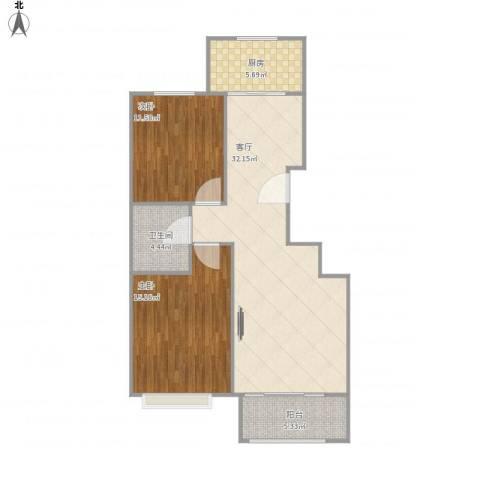 惠腾公寓2室1厅1卫1厨100.00㎡户型图