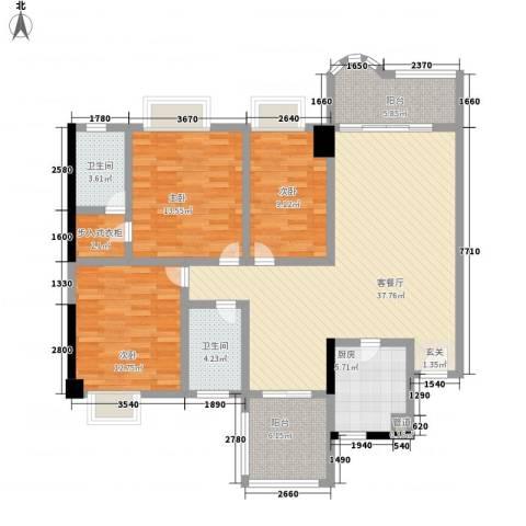 长裕翰林轩3室1厅2卫1厨148.00㎡户型图
