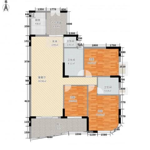 东华苑3室1厅3卫1厨178.00㎡户型图