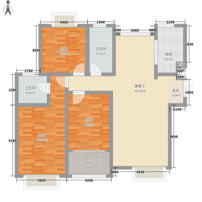 山水圣城144.34㎡一期小高层标准层A7户型3室2厅2卫1厨