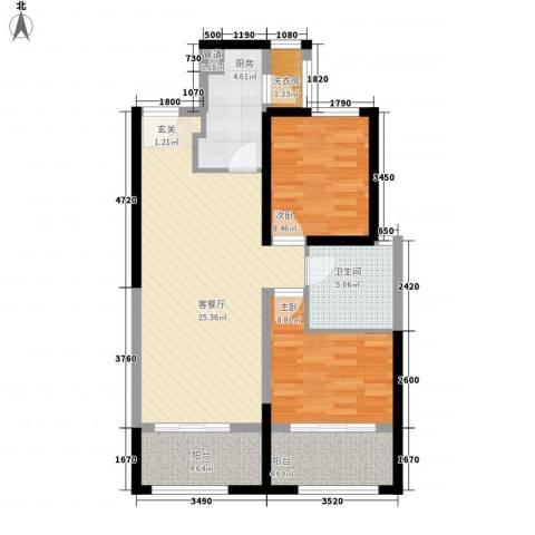 中铁・缇香郡2室1厅1卫1厨92.00㎡户型图