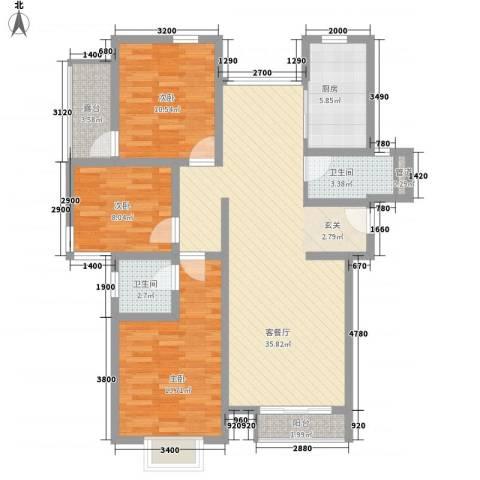 盈翠社区3室1厅2卫1厨125.00㎡户型图
