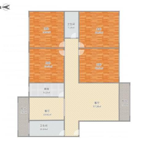 鸿运小区4室2厅2卫1厨290.00㎡户型图