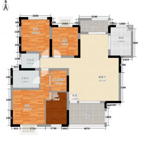背圪洞省建五公司宿舍4室1厅2卫1厨158.00㎡户型图