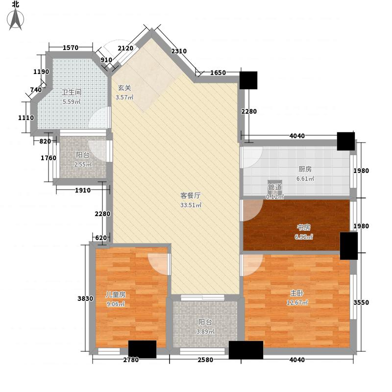 汇金国际公寓115.40㎡B户型3室2厅1卫