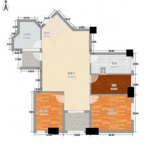 汇金国际公寓3室1厅1卫1厨115.00㎡户型图