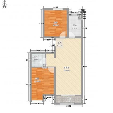 戴河海公园2室1厅1卫1厨85.00㎡户型图