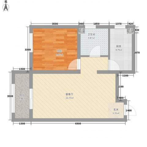 戴河海公园1室1厅1卫1厨65.00㎡户型图