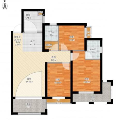 大学里三期3室1厅2卫1厨125.00㎡户型图