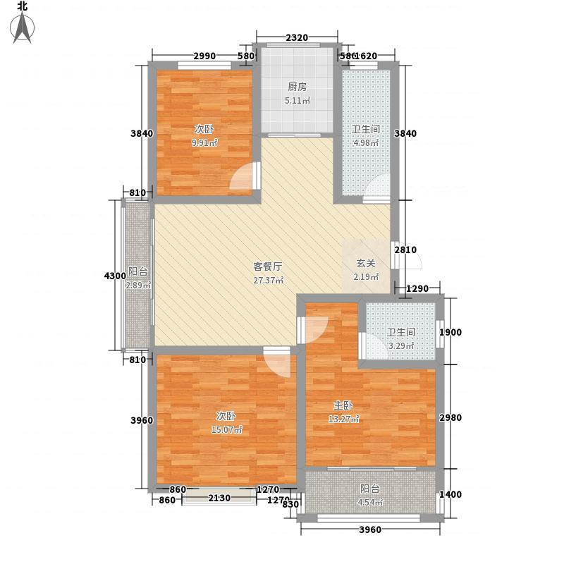 丽景苑124.80㎡户型3室2厅2卫1厨