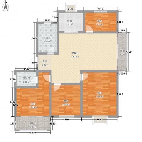 丽景苑4室1厅2卫1厨154.00㎡户型图