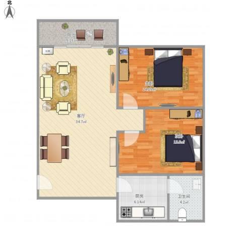荟丽家园2室1厅1卫1厨104.00㎡户型图