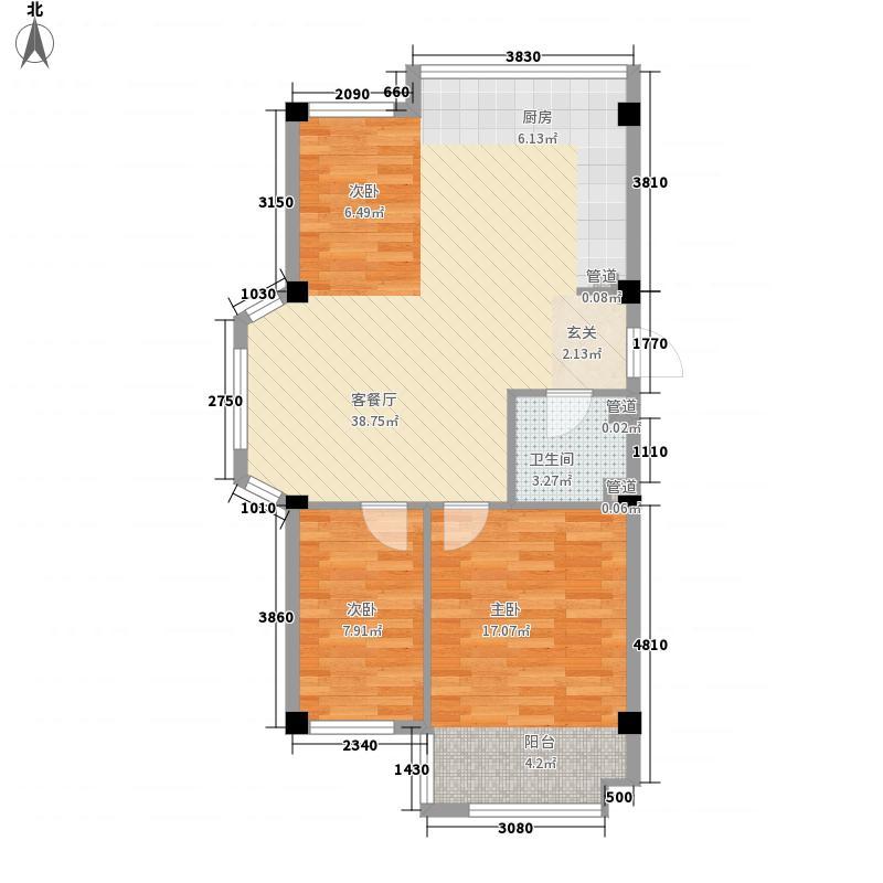 盛福家园2.00㎡户型3室2厅1卫1厨
