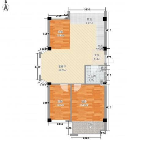 盛福家园2室1厅1卫0厨67.11㎡户型图