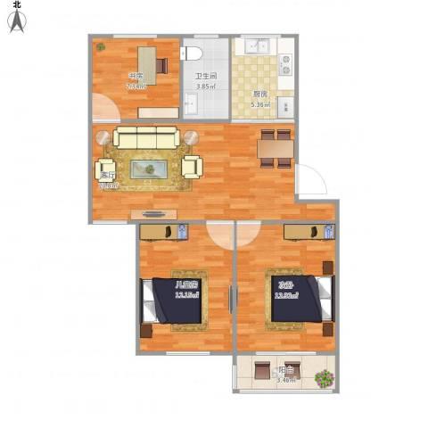 现代花园3室1厅1卫1厨89.00㎡户型图