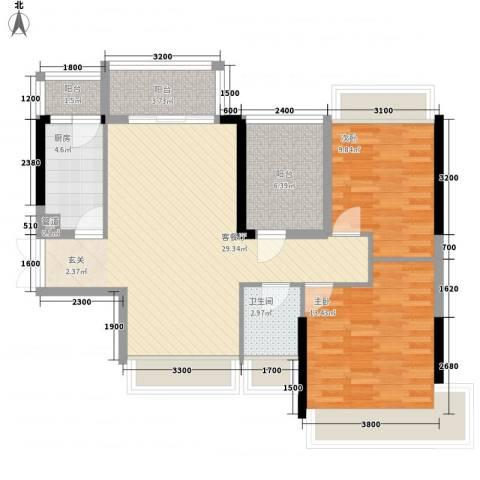 丽湾花园2室1厅1卫1厨103.00㎡户型图