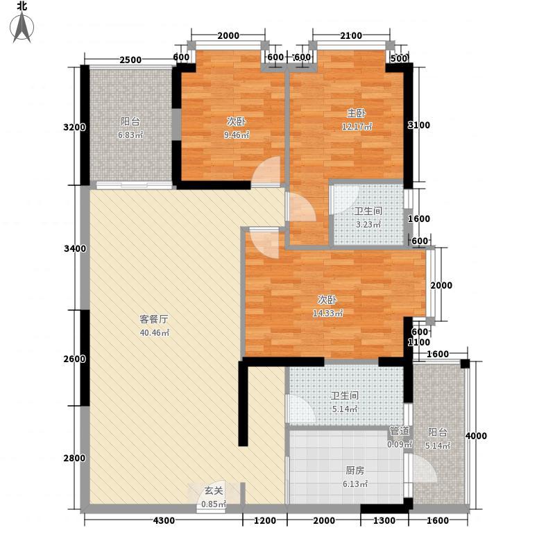 云天华庭127.20㎡户型3室2厅2卫1厨