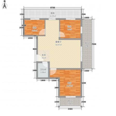 金基泰和苑3室1厅1卫1厨104.32㎡户型图
